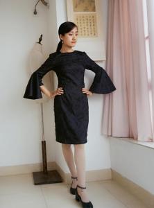 黑色刺绣荷叶袖礼服教程