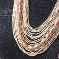 染金琉璃珠层次感系带项链
