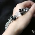 粗款透明灰色水晶手链(白色磨砂琉璃款)
