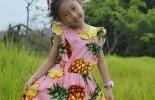 【绮妈手工】粉色菠萝印花连衣裙