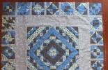 风二色-康师美拼班作业-蓝色调拼布方毯+抱