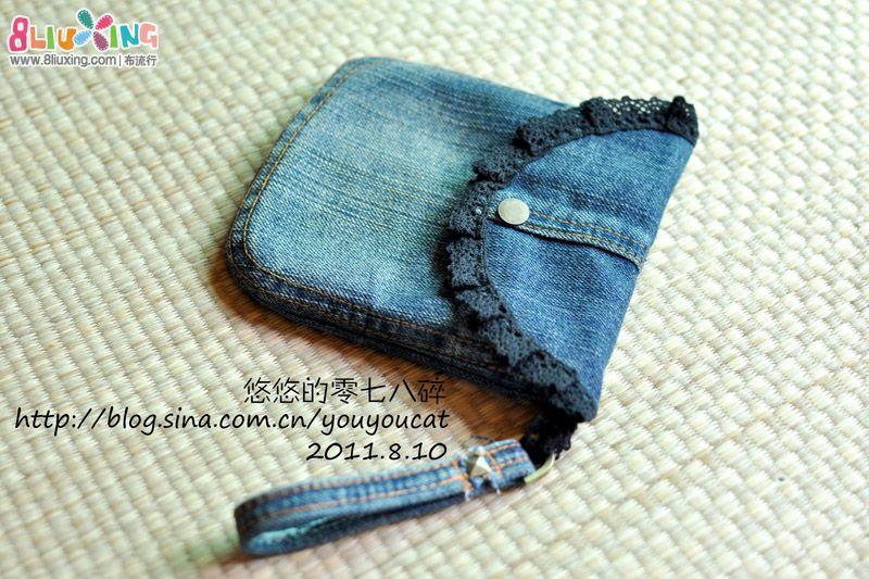 牛仔裤旧物改造 随身包,钥匙链,笔袋 手工布艺图片