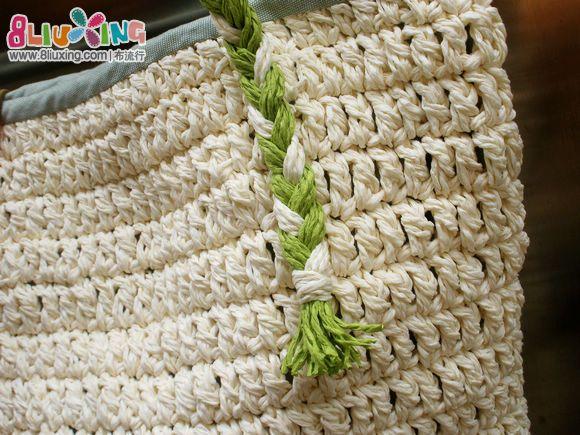 卜卜手作 纸绳钩针包 编织 刺绣作品秀高清图片
