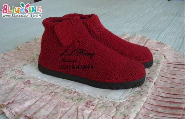 毛线编织棉鞋详细图解_男女 编织 毛线-已买