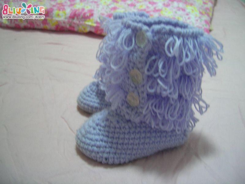 钩棉鞋图解 求以下毛线棉鞋的编织方法及图解