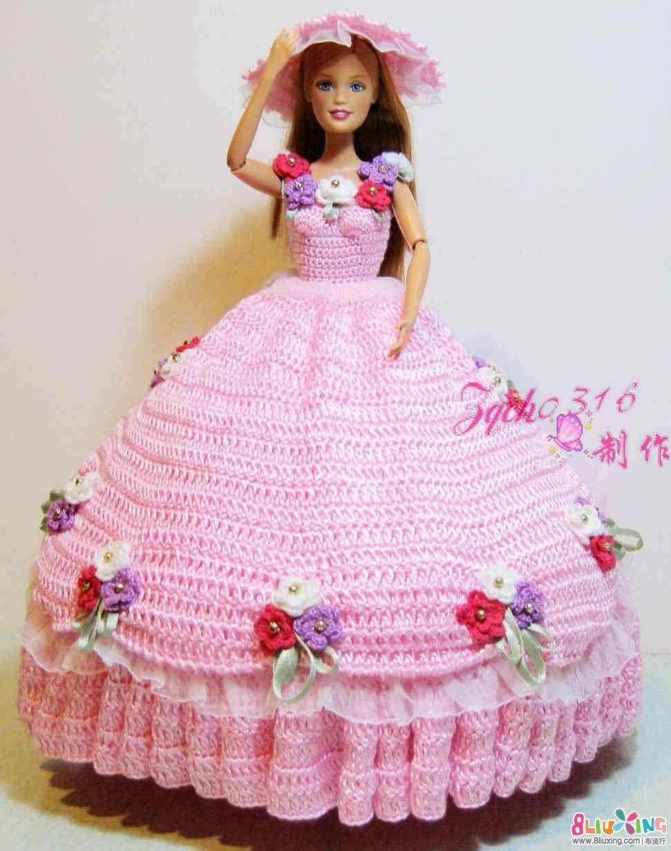 钩花 编织 给你的芭比娃娃穿上公主裙; 毛线编织之芭比娃娃宫庭礼服