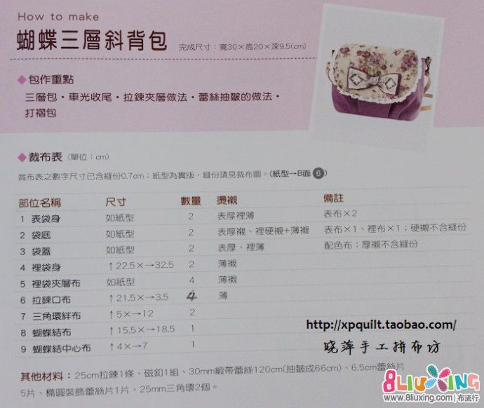 【晓萍手工拼布坊】夏日三口斜背包——紫莲【含图纸
