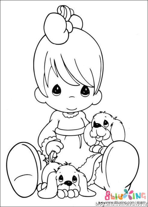 [转载][刺绣图纸] 轮廓绣图案--水滴娃娃1