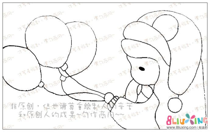 图纸简易短女孩-气球下载专区-布流行手工v图纸纸电子琴钱包图片
