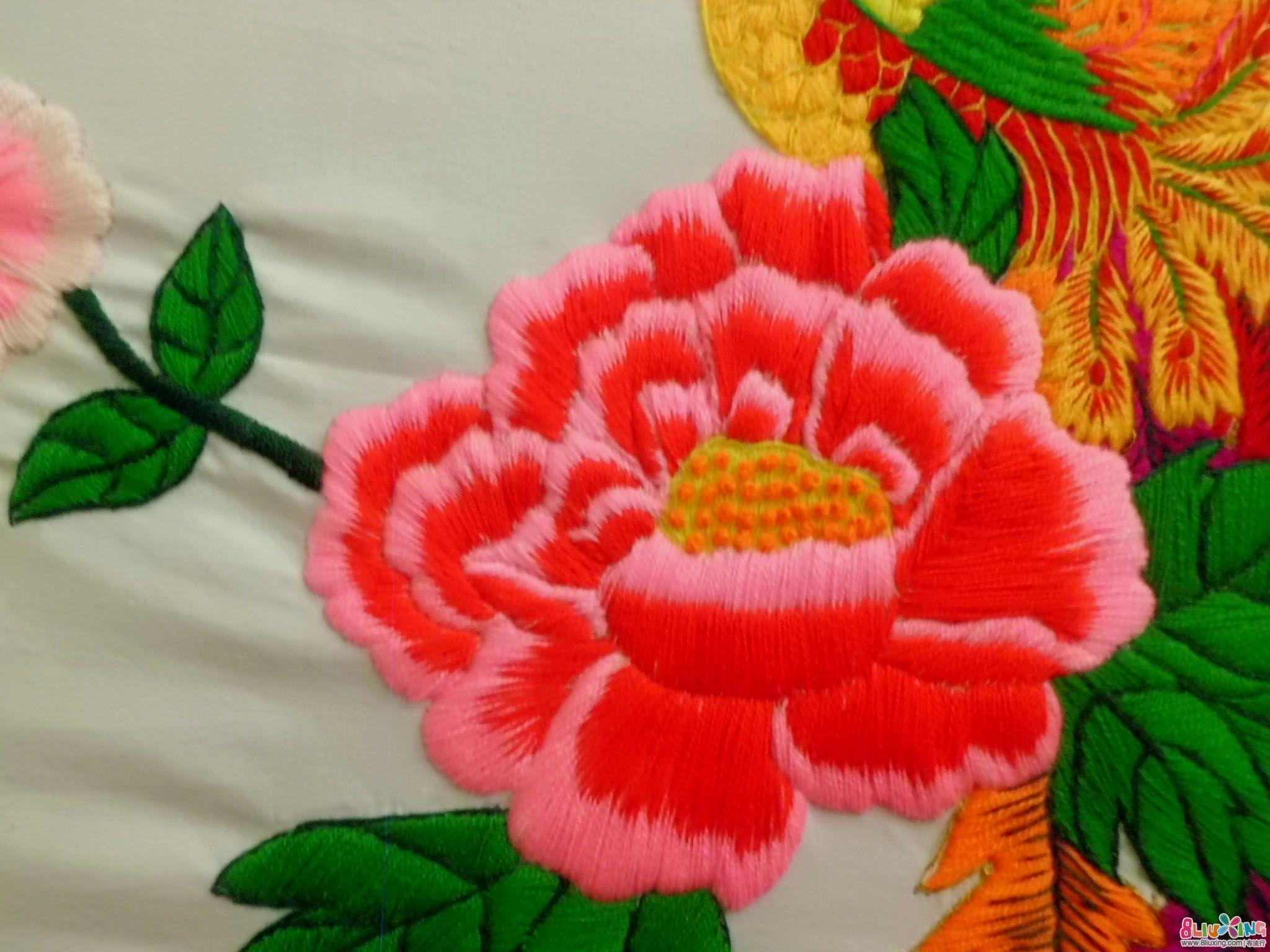 手工 刺绣 凤穿 牡丹 编织 刺绣作品 秀 布流行图片