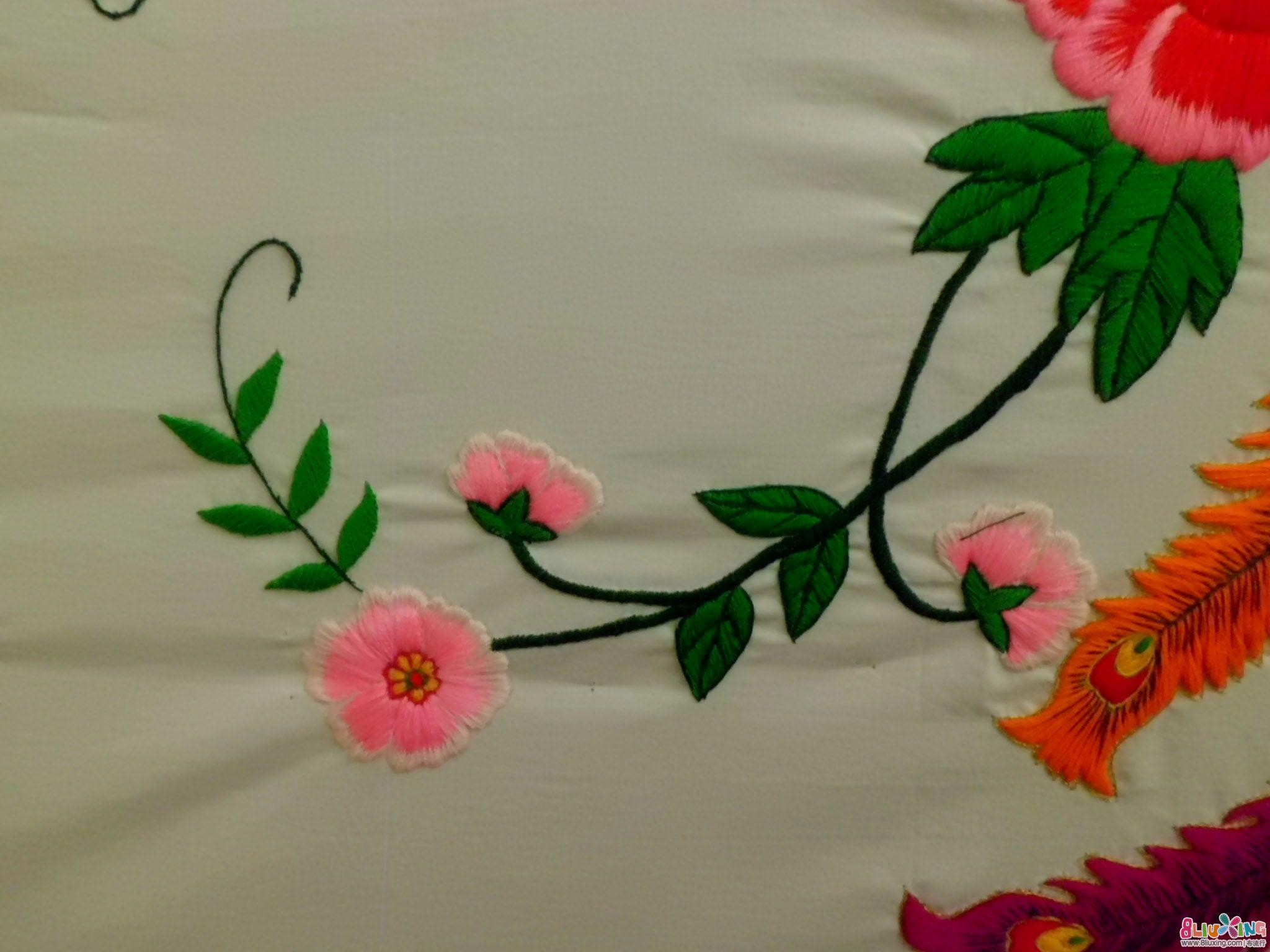 手工刺绣凤穿牡丹图片