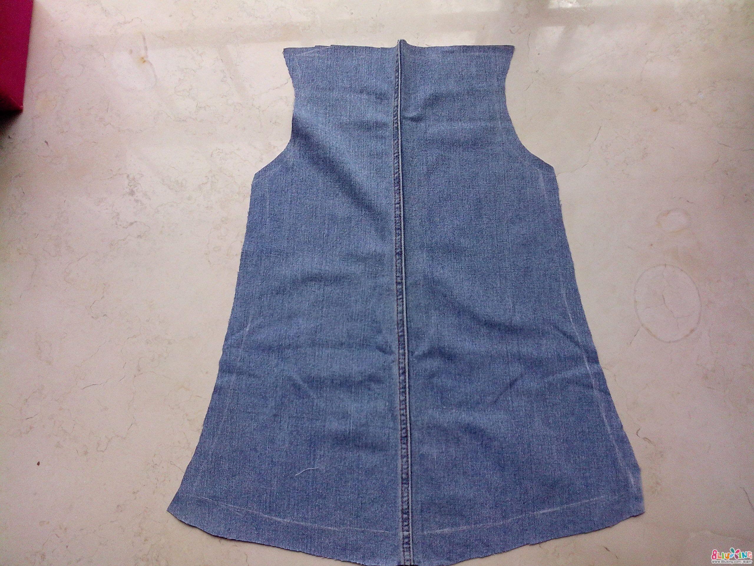 旧牛仔裤改造裙子图解