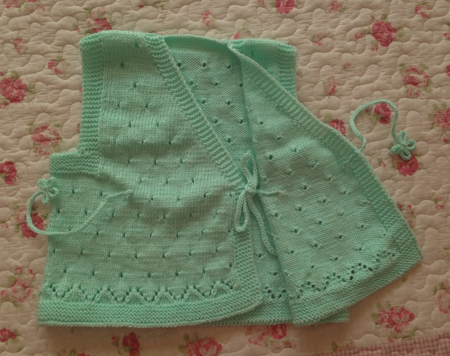 初生儿和尚服/纯棉手工编织宝宝斜襟系带毛衣