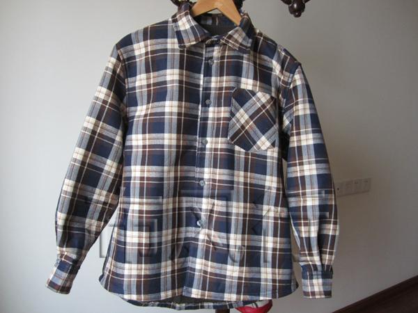 【服装]加绒男式格子衬衣