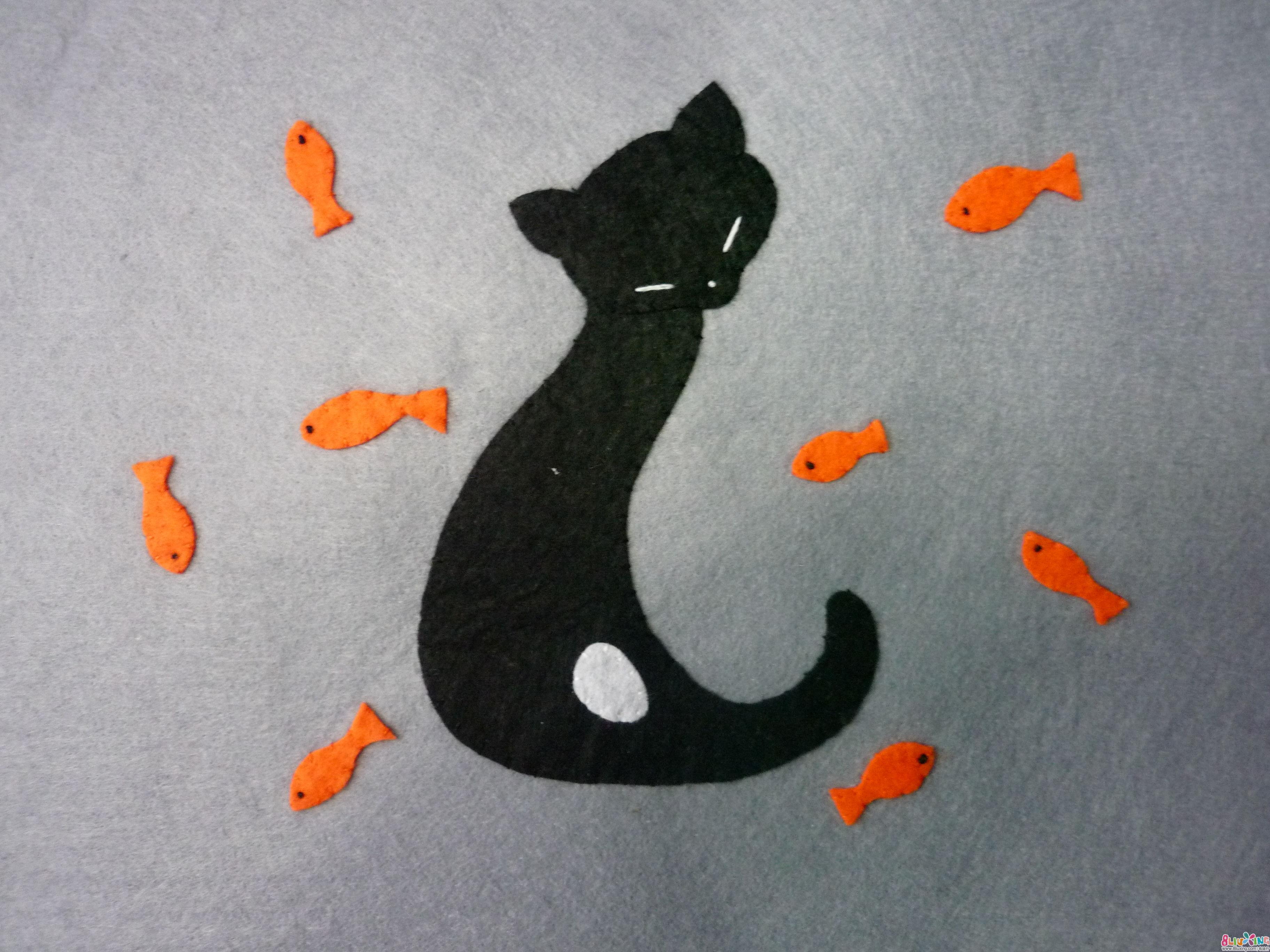 不织布贴画 猫妹妹和小金鱼