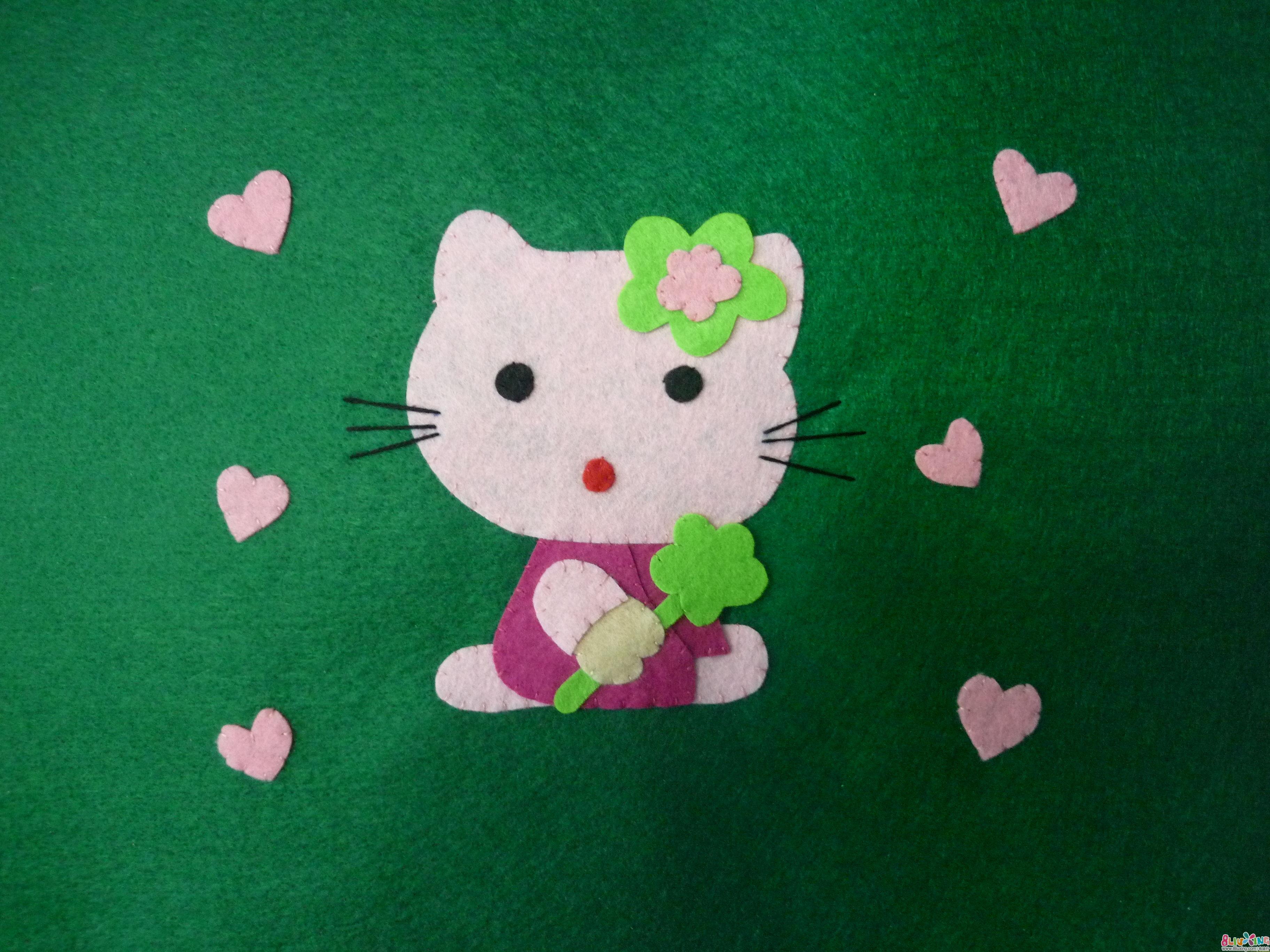 不织布贴画 爱心kitty