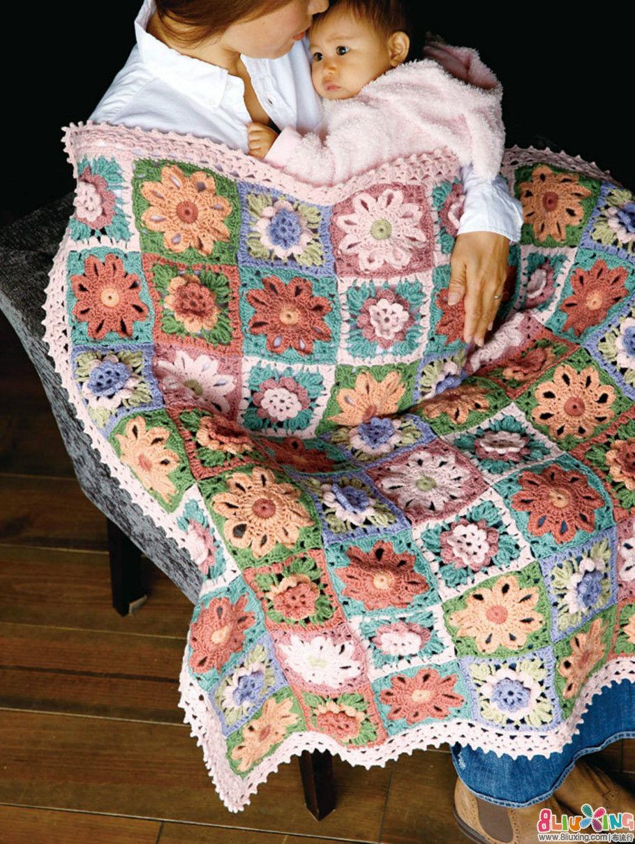 (钩针)花朵毯子图解