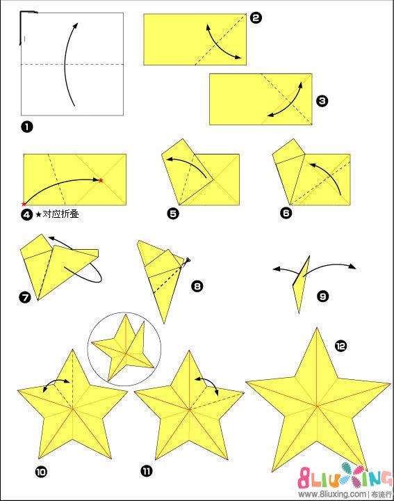 儿童剪纸五角星的折法