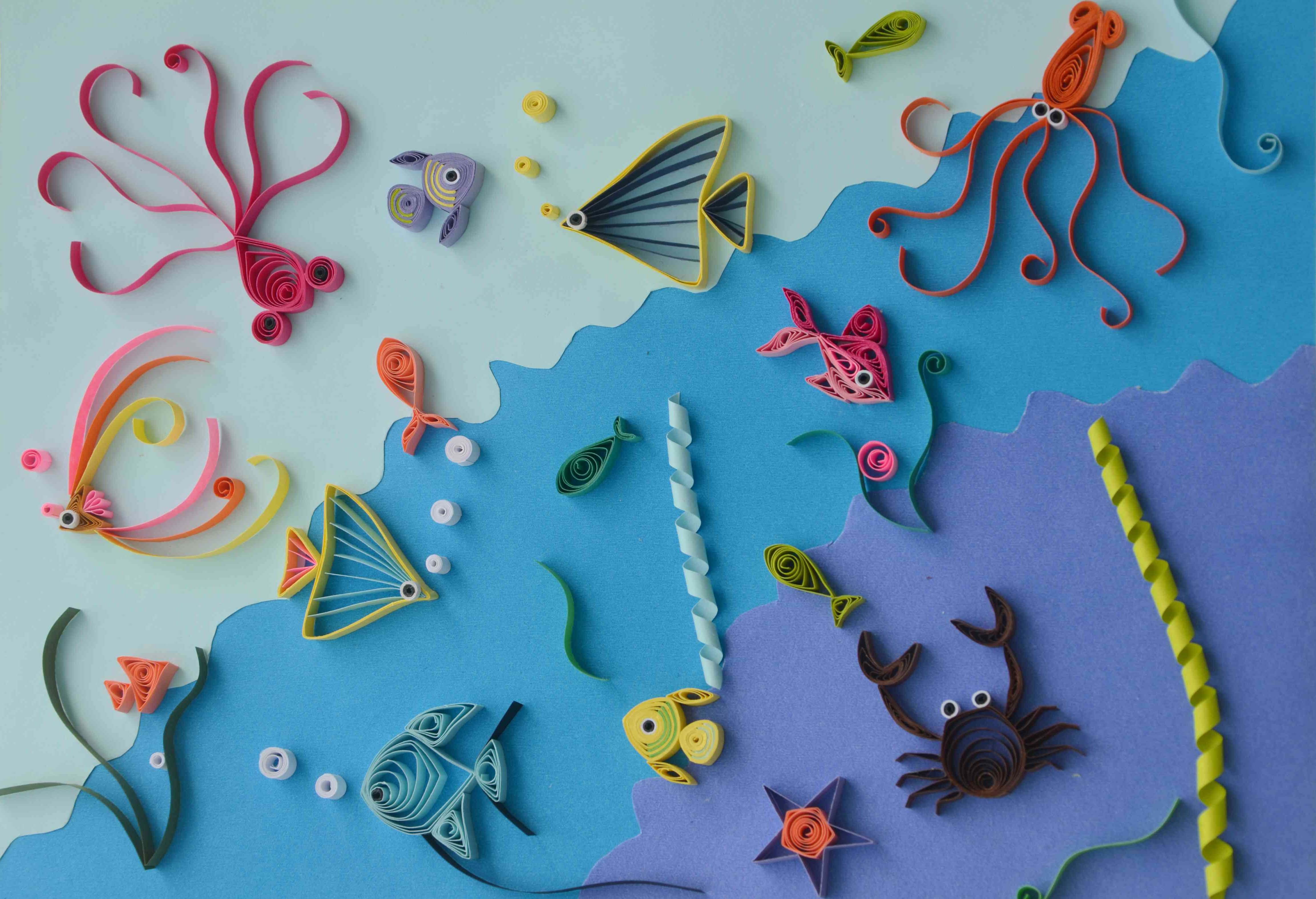 海底世界手工作品,手工制作海底世界动物,_手工作品图片海底世界,海底