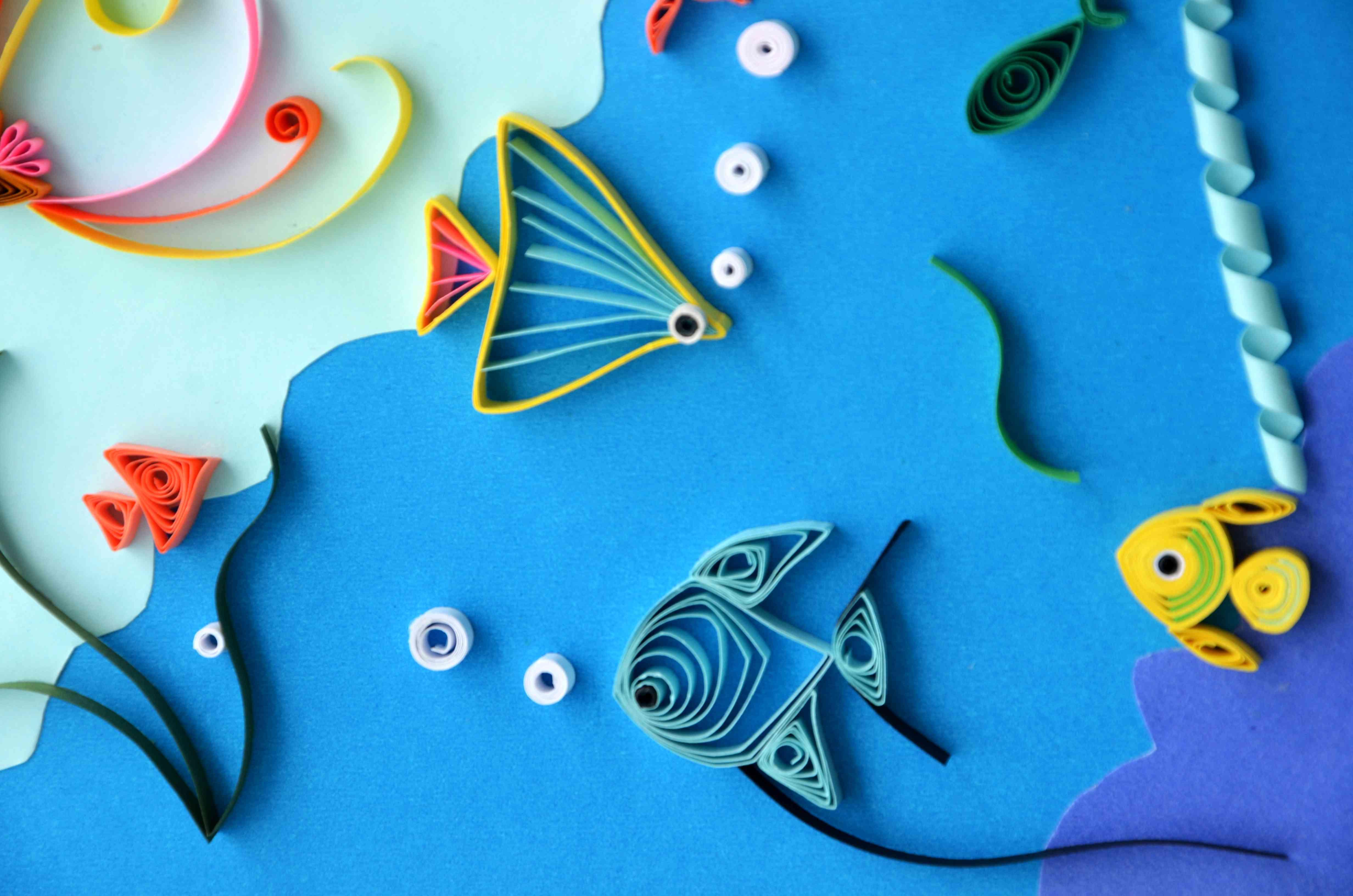 海底世界儿童手工作品,海底世界卡纸手工制作,海底世界手工作品,手工
