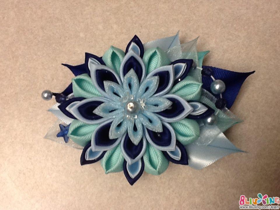 彩色丝带花叶的制作方法