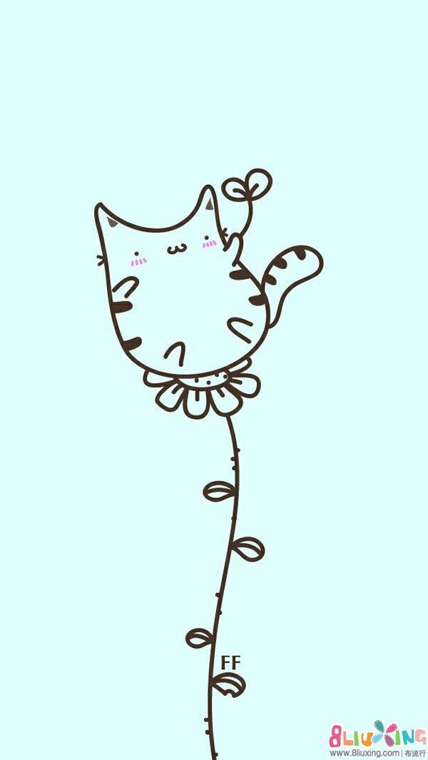 橡皮章素材--单线条卡通猫图一组