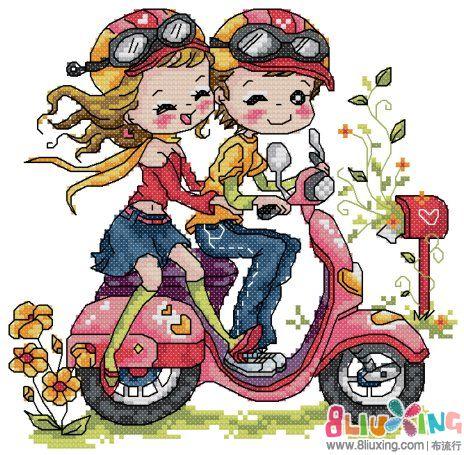 摩托车图片卡通情侣_警察摩托车卡通画简笔画图片图片
