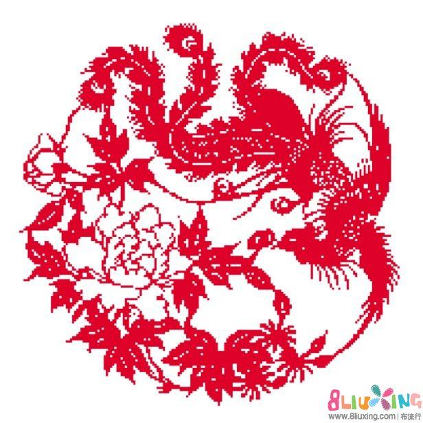 十字绣图纸之凤戏牡丹 图纸下载专区 布流行图片