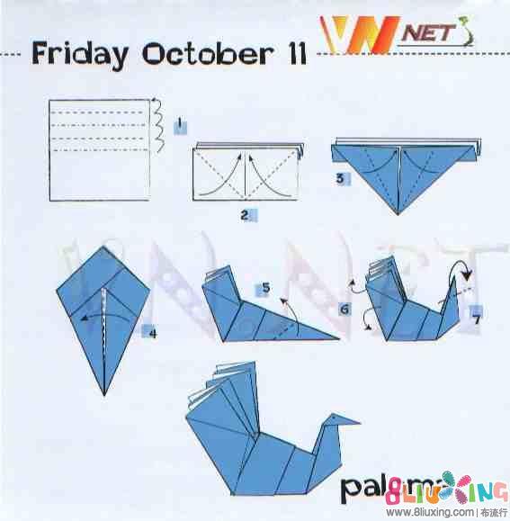 折纸手工-布艺-视频浅水教程布流行艇仙鹤教程图片