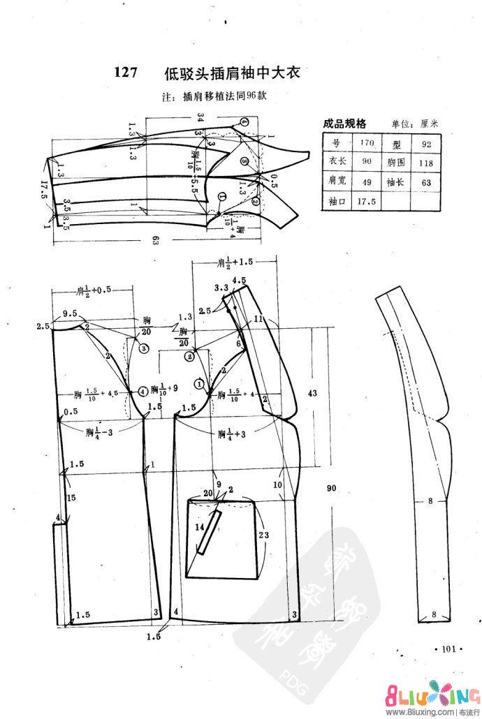 低驳头插肩袖中图纸安装图-气压下载专区布剪裁床头高箱图纸大衣图片
