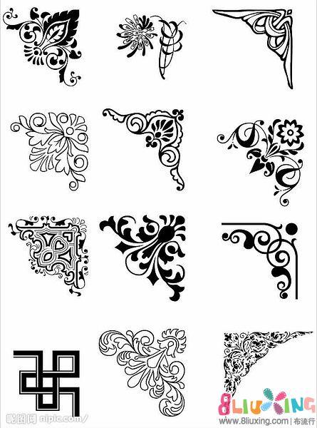 章类教程] 橡皮章图案素材-边角料可以用的花纹花边 .