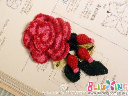 图解 钩针 装饰品 立体 玫瑰花 玫瑰果 叶子
