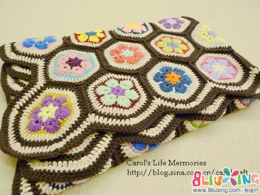 AfricanFlower钩针图纸--六角花片图解-图纸下毯子缝小的熊图片