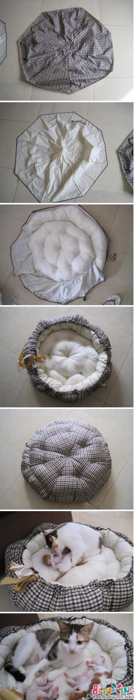 家里有烂雨伞的,别浪费了,做个南瓜猫窝吧,漂亮又实用~