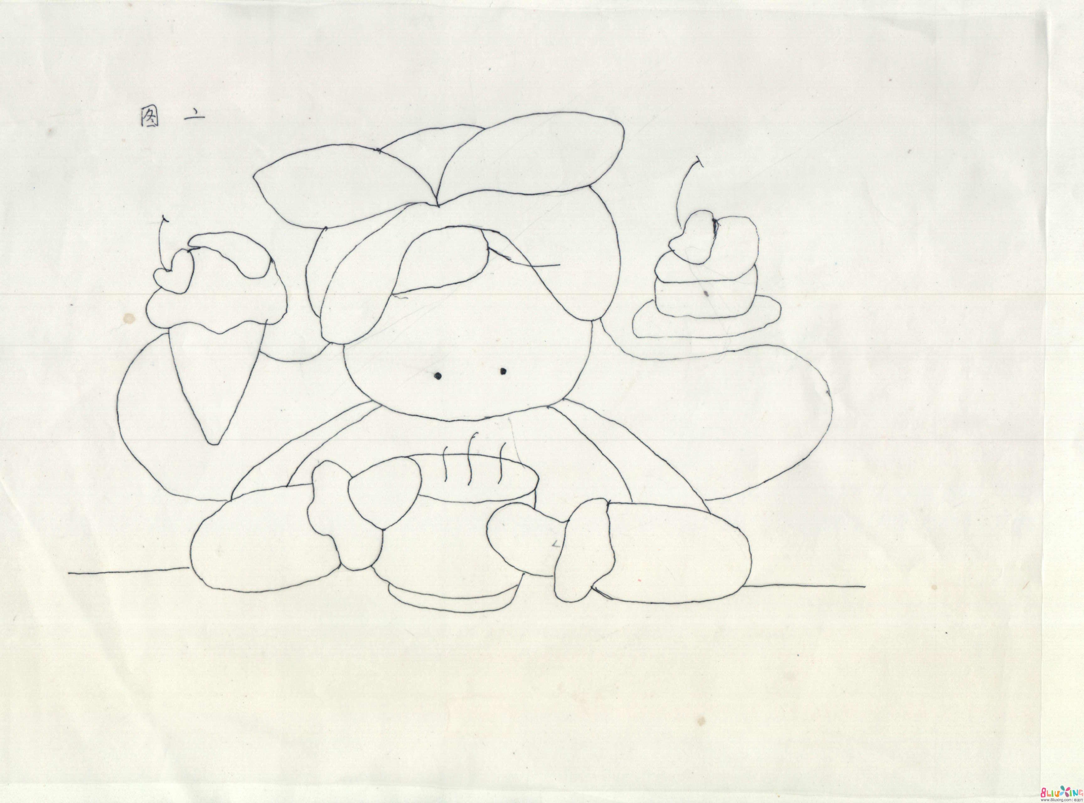 可爱蛋糕女孩贴布图纸