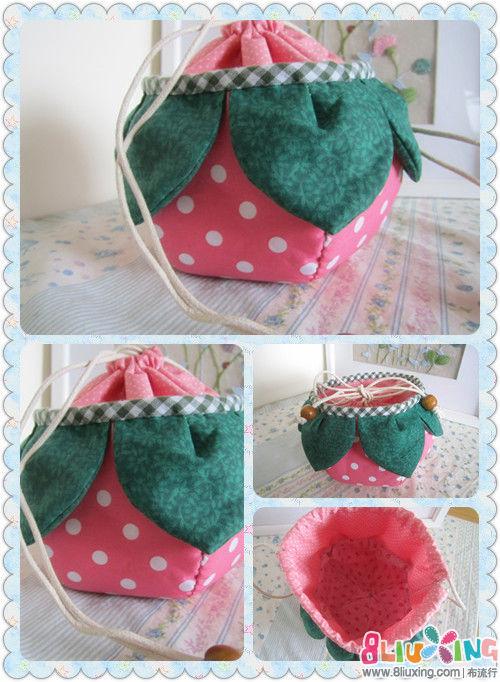 海蓝de 作品---草莓束口袋