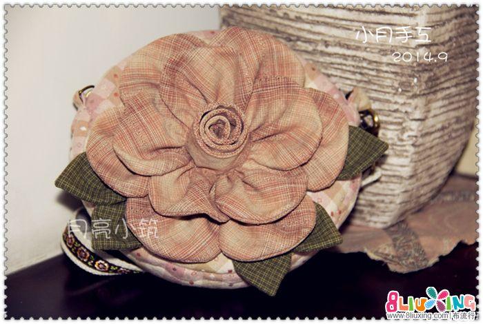 小月爱手工——先染款立体花朵小斜挎包