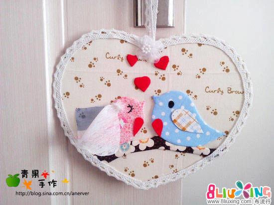 布堆画卡通5班第二课作业贴—爱情鸟