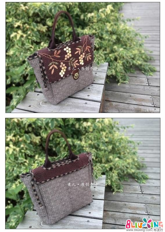 「素儿原创设计」南天竹果系列。两用手拎包与小包。