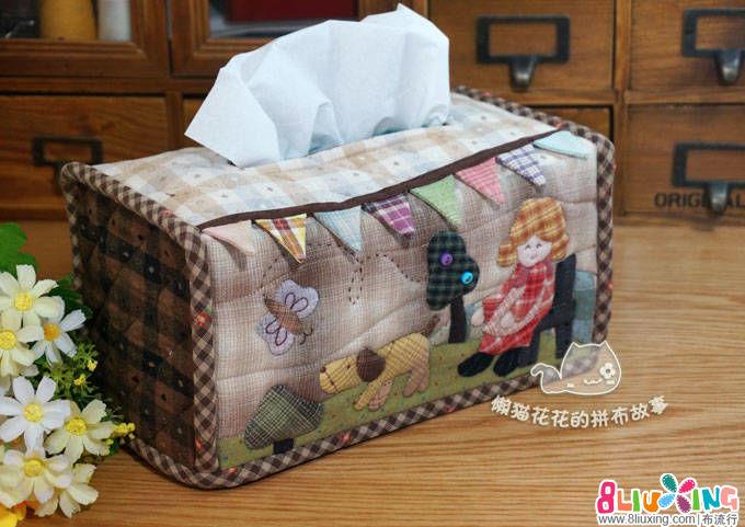 【懒猫花花】韩网的溜狗女孩纸巾盒