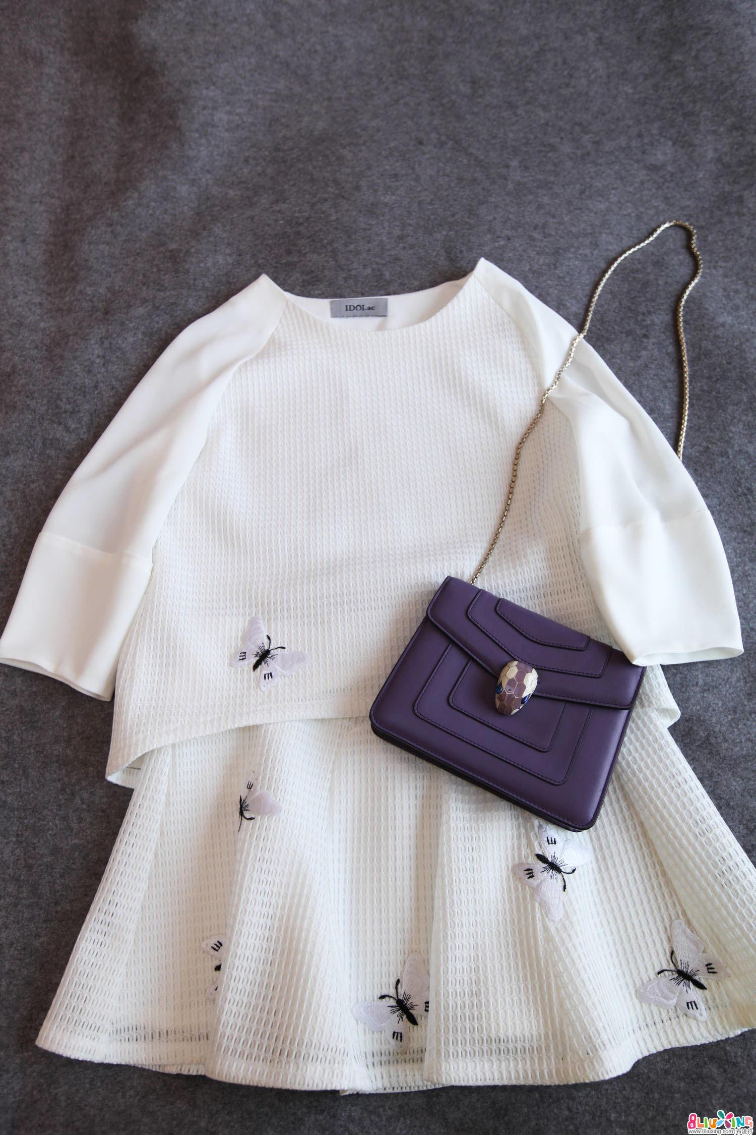 【Forider设计】蝴蝶刺绣/白色细网连衣裙套装