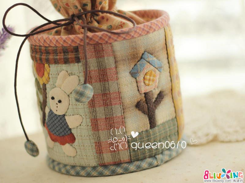 女王拼布----Happy rabbit 先染拼布纸巾盒