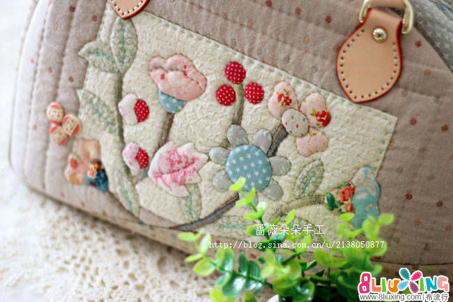 蔷薇朵朵拼布--夏日小清新手提包
