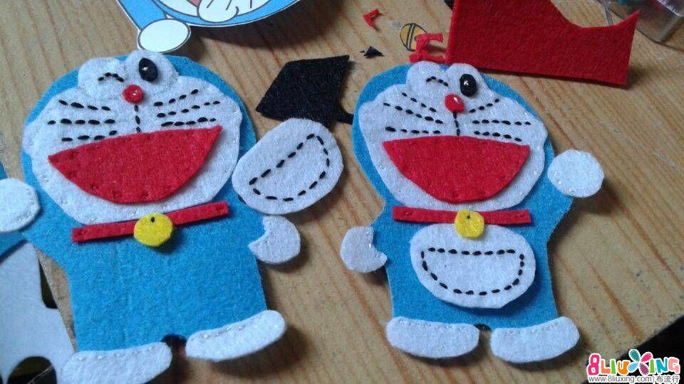 童年的超人最爱的蓝胖子哆啦A梦不织布手工--付图纸和制作步骤