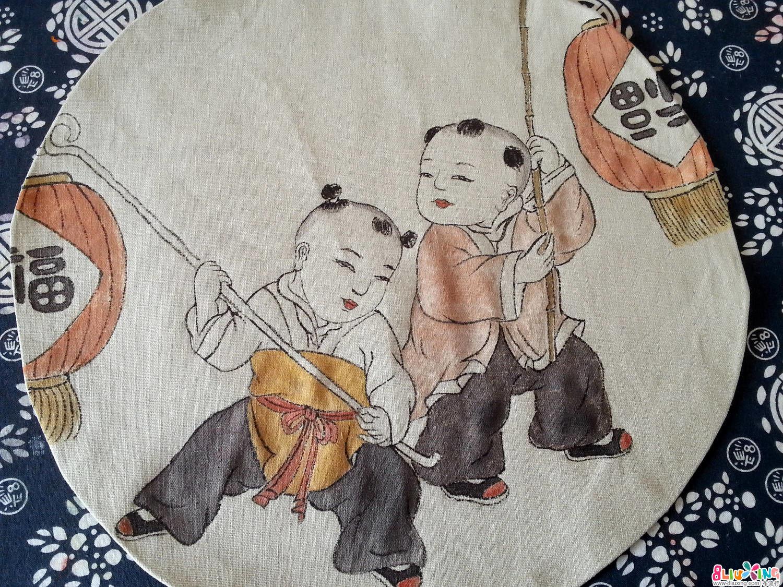 手绘布艺国画《童子图》详细教程