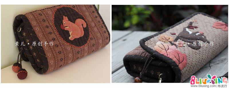 「素儿原创设计」幸福松鼠系列。多功能大包。小肩包。mini零钱包。