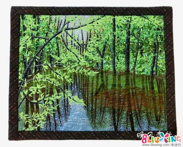 风景油画拼布   森林系列作品