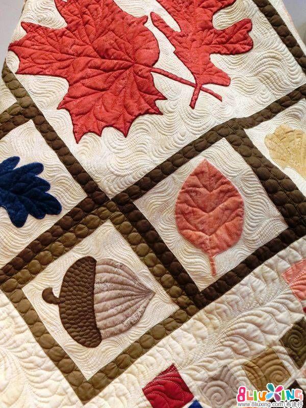代工压线作品  美丽的拼布被子  落叶舞秋风