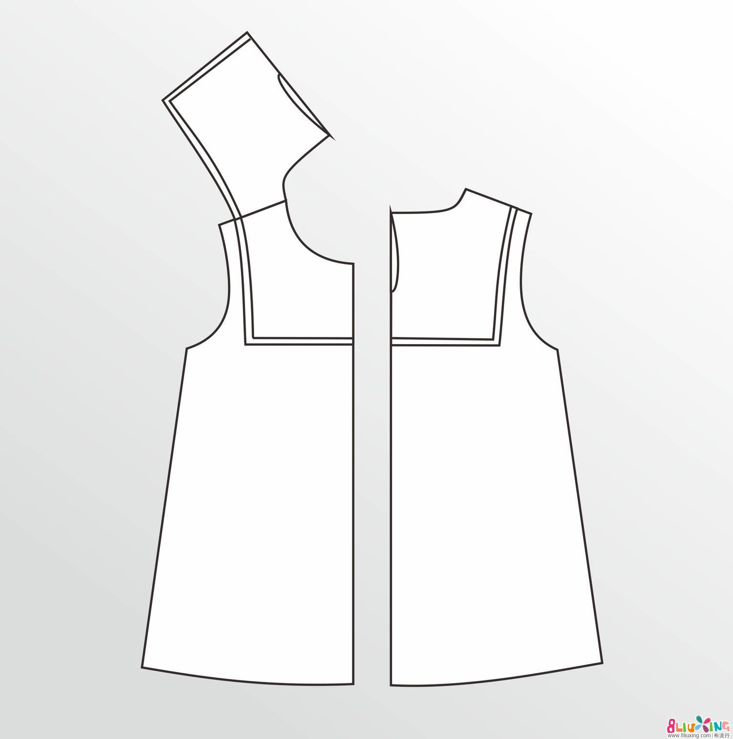 (老绿手工)海军风小裙 海军领的一种做法