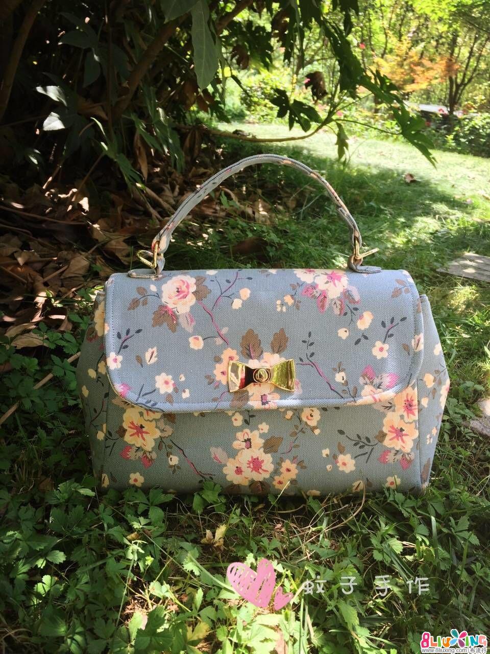 蔷薇花帆布手提包